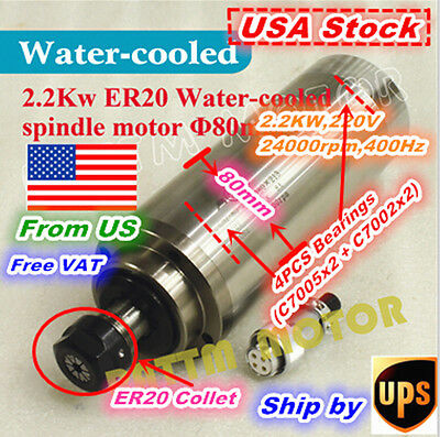 【US Stock】2.2KW ER20 Water Cooled Spindle Motor Engraving Milling CNC Grind 80mm