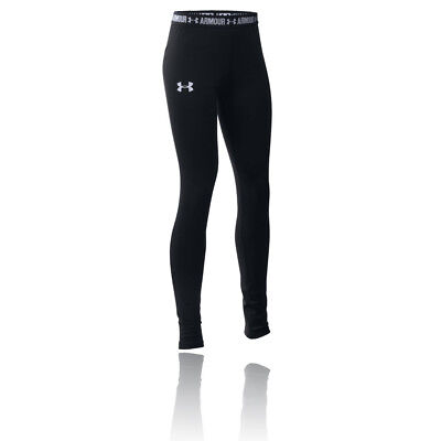 Under Armour HeatGear Armour Júnior Chicas Negro Running Largo Mallas Fondo