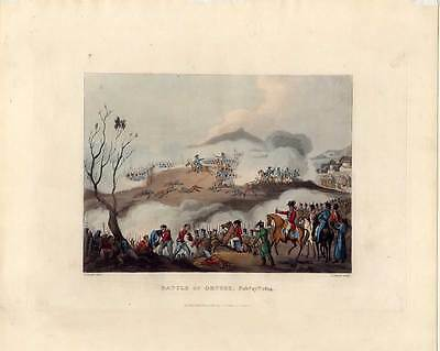 BATTLE of ORTHES-Orthez-Napoleon-Krieg-Aquatinta 1815 Frankreich