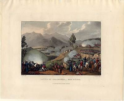 BATTLE of SALAMONDA-Napoleon-Krieg-Aquatinta 1815