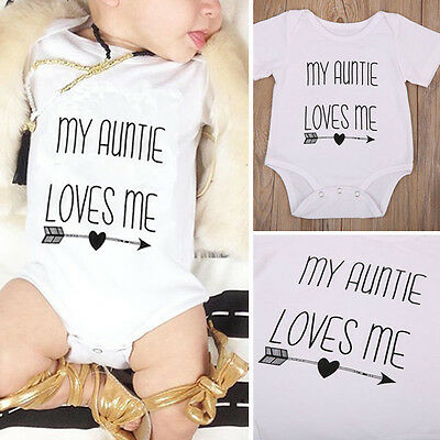Baby Boy Girls Outfits Cotton My Auntie Love Me Romper Clothes Body Jumpsuit New