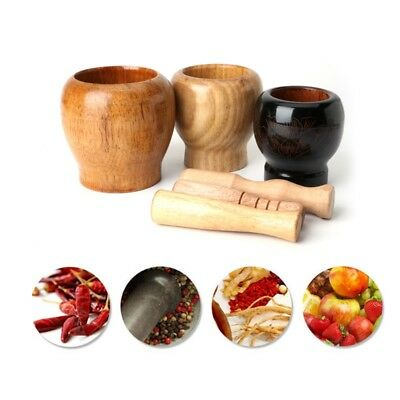 Wooden Mortar and Pestle Garlic Ginger Herb Mixing Grinding Spice Bowl Crusher