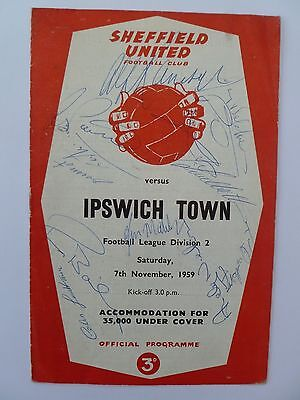 1959 Ipswich Town programme signed by Manager Alf Ramsey and 12 players