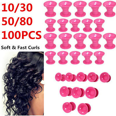 50/80/100Pcs Silicone No Heat Hair Curlers Magic Soft Rollers Hair Care DIY Tool