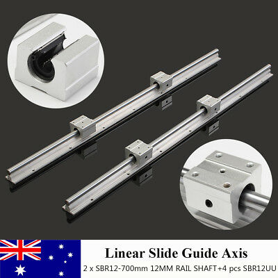 2 Set SBR12-700mm Linear Bearing Slide Rail Linear Guide + 4Pcs SBR12UU Blocks
