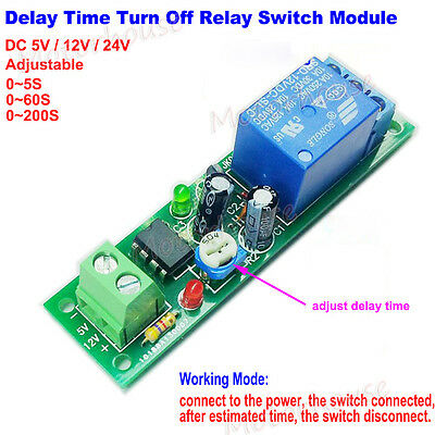 DC Adjustable Delay Time Turn Off on Relay Switch Ne555 Timer Module Board