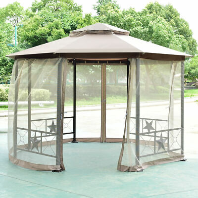 Octagon 2-Tier 12.5ft Outdoor Gazebo Canopy Shelter Awning Curtain Steel NEW