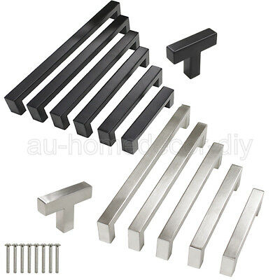 Modern Kitchen Cabinet Handles Stainless Steel Square Door Knobs Drawer Pull Lot