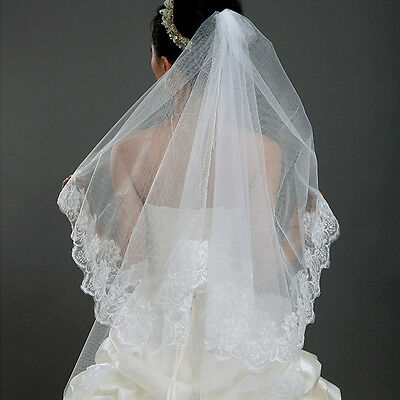 White Women Wedding Bridal Applique Lace Veil 1.5m Long Cathedral Mantilla AU