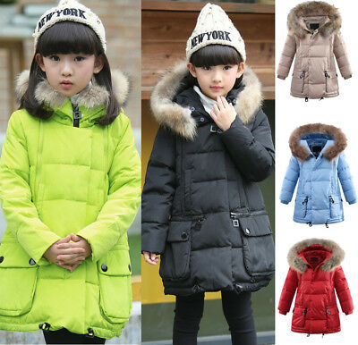 Winter Kids Girls Padded Quilted Coat Jacket Puffer Fur Hooded Long Parka Warm