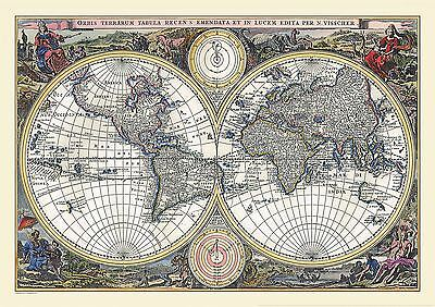 Vintage Double Hemisphere World Map 1700 Poster with Size & Finish Options