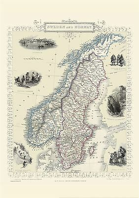 Vintage John Tallis Map of Sweden and Norway 1851 with Size & Finish Options