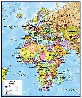 Europe Middle East Africa EMEA Political Map Poster with Size & Finish Options