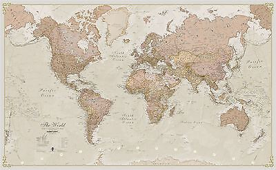 Antique World Map Poster Print Art Map for Office, Choose Size Finish