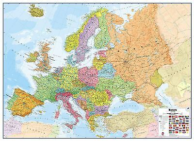 Europe Wall Map Political Poster Print Art Map, Size & Finish Options