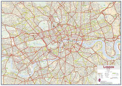 Central London Street Wall Map Poster for Office with Size & Finish Options