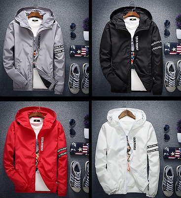Men's Hooded Casual Jacket Zipper Outdoor Sports Waterproof Windproof Coat New