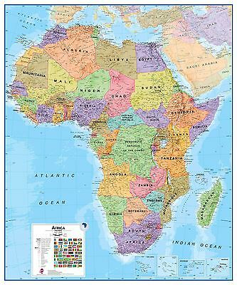 Africa Wall Map Political Geographical Art - Rollerblind, Acrylic & Magnet Board