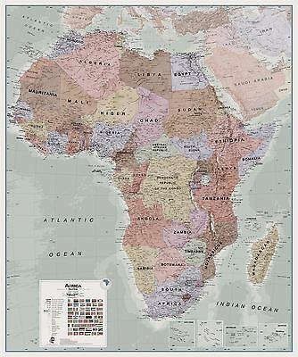 Executive Africa political Map for Office - Rollerblind, Acrylic & Magnet Board