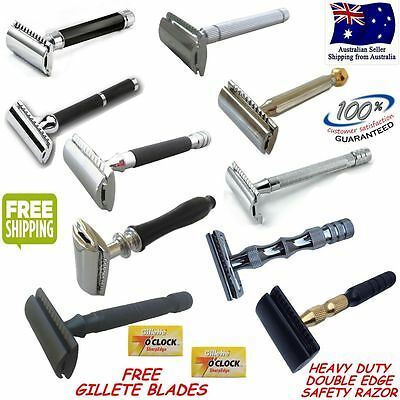 NEW Genuine Safety Razor Double Edge Razors +10 Free Blades & Pouch travel kit