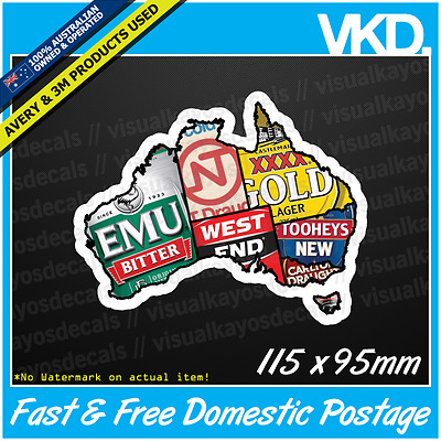 Aussie Beer Map Sticker/ Decal - Beer Bar Mancave Emu Export Ute VB XXXX NT Pub