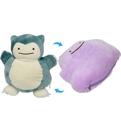 Snorlax 30CM Ditto Metamon Inside-Out Cushion Pokemon Plush Doll Toy Pillow