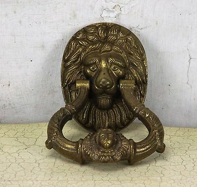 Heavy Brass Door Knocker Lions Head Ring Architectural Gorgeous Reclaimed