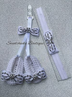 Clip On Grosgrain Prada Ribbon Romany Pram Charm Headband Set