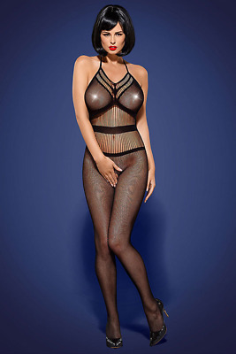Netz Catsuit schwarz Body Stocking rückenfrei Stretch transparent Tüll S M L