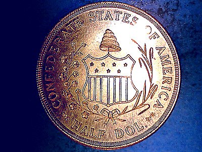 1861~ 50C Confederate Seal Half.Dollar ~ Shield  Reproduction ~ Brass