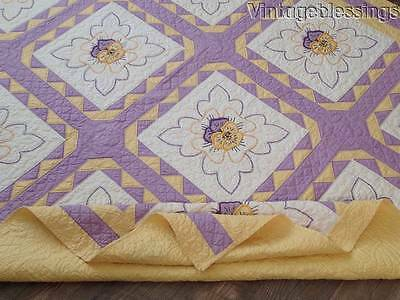 """Never Used! Exceptional Vintage PANSY Applique Purple & Yellow QUILT 87"""" x 72"""""""