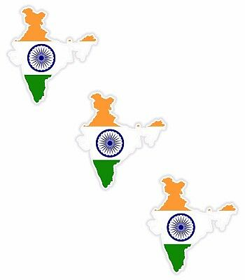 3x India Map Flag Stickers Silhouette With Flag for Helmet Hard Hat Locker