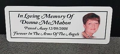Personalised Memorial Rememberance Bench Plaque Photo Weatherproof Aluminium