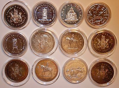 (12) Canada Silver Dollars. Each coin is 50% pure & .3750 ASW. Total 4.5 Troy OZ