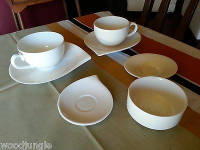 7 White Villeroy & Boch Germany Cafe Latte Cups Coffee Saucers Sauce Bowl Flow