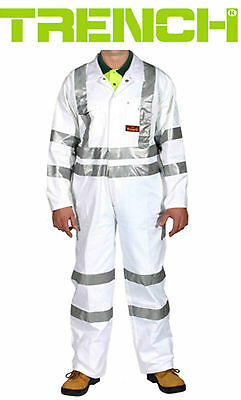 Cotton Drill Coverall With Reflective Tape - White