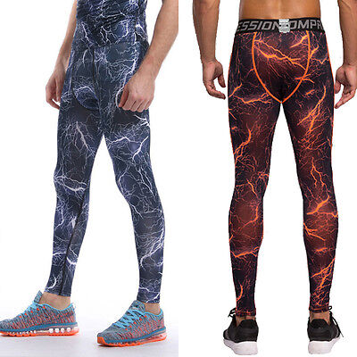 Mens Boys Body Armour Compression Base Layer Pants Bottoms Lightning Pattern 3XL