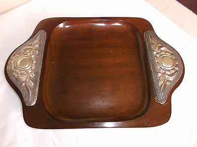 "Antique 950 Sterling Silver Wood Tray, Peru?, 10.25"" x 7"", Handles, VGUC"