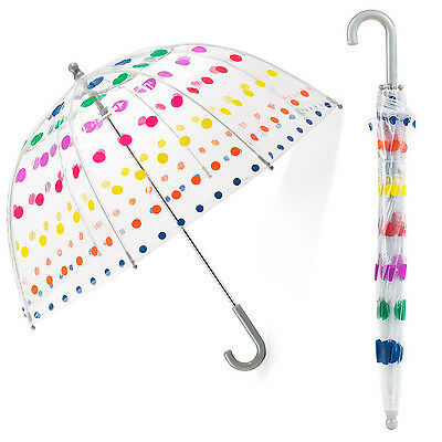 Compact Clear Kids Rain Umbrella Trasparent Folding Dotted Bubble Canopy Child