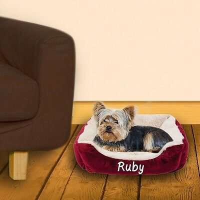 Personalised Cushioned Pet Bed, Dog Bedding, Add Any Name, Paw Print, 4 Colours