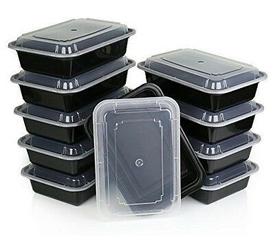 10 pc Microwave Dishwasher Plastic Lunch Box Food Storage Meal Prep Container