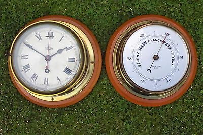 Antique Brass Smith Astral (Pre 1931) Ships Clock And A Short & Mason Barometer