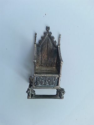 *Antique Edward VII Silver Miniature Coronation Throne, 1902 Saunders Shepherd*