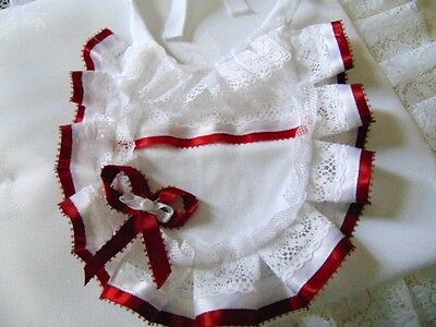 Luxury Frilly Bib Newborn Reborn Romany Deep Christmas Red Party Stocking Filler