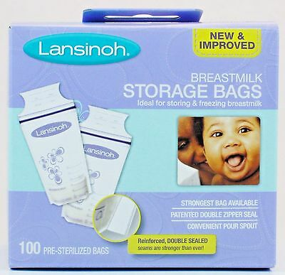 Lansinoh Breastmilk Storage Bags Storing & Freezing 100 Pre-Sterilized Bags