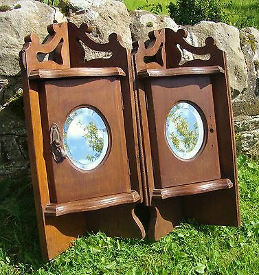 Pair Antique Wood Corner Wall Cupboards - Bevelled Oval Mirror - For Restoration