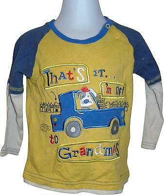 PRE-OWNED Boys TU Yellow & Blue Decal Top Size 18-24 Months