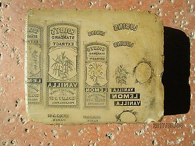 Antique  Etching-Lithography Stone -COLBY's EXTRACT+ATHERTON'S-2 sides