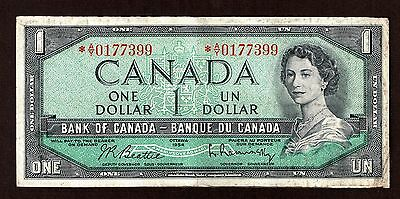 Bank Of Canada 1954 $1.00 Beattie Rasminsky Replacement Note *a/y0177399 Vf