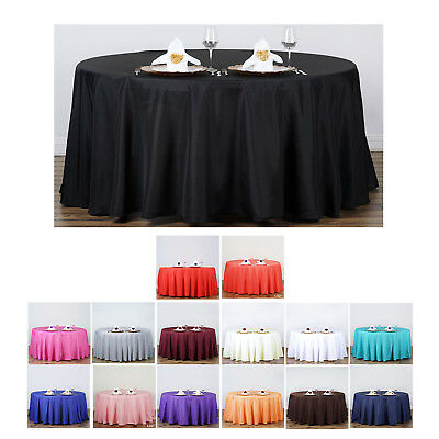"""132"""" Round Polyester Tablecloth For Wedding Party Banquet Events Decoration"""